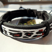 Spring Gift Cute Stylish Unique Black Leather Cuff cheetah leopard Print White Cotton Cloth Pattern Bracelet C-46
