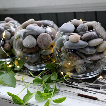 Lake House Stone Table Centerpiece Collection of 3 Glass Vessels filled with Multi Color Smooth Lake Stones , Natural Boho Home