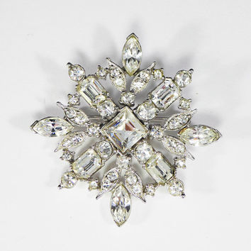 "Clear Rhinestone Brooch Signed Bogoff Brides ""Something Old"" Sash Pin Wedding Jewelry Mid Century Vintage 1950s 1960s Rhinestone Snowflake"