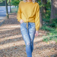 Mustard Waist Front Lace Up Sweater
