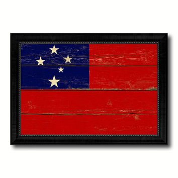 Western Samoa Country Flag Vintage Canvas Print with Black Picture Frame Home Decor Gifts Wall Art Decoration Artwork