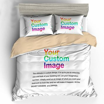 Create YOUR OWN 3D Printing Bedding Set. Warmer Soft Bedclothes Duvet Cover Sets with 2pcs Pillowcases Home Textile