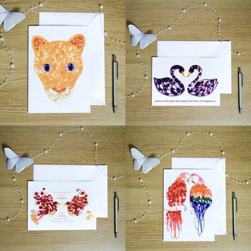 4 Blank Cards, Animal Card Set, Colourful Notecards, Unique Notelets, Pack of Cards, Set of Cards, Birthday, Thank You, Nature Cards