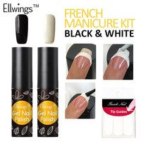 Ellwings 2pcs Black White French Manicure Set Gel Nail Polish Soak Off Long Lasting UV Nail Gel Varnish French sticker
