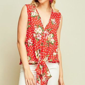 Red Polka Dot Floral Tie Front Top
