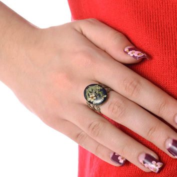Vintage handmade designer fashion ring with natural flowers in epoxy resin