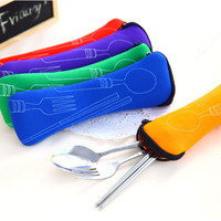 Popular 3X Fork Spoon Travel Stainless Steel Cutlery Portable Bag Picnic