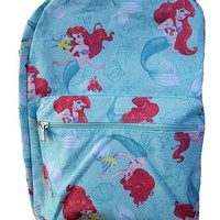 "Disney Princess Little Mermaid Allover Print 16"" Girls Large School Backpack"