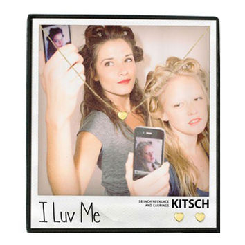 Kitsch I Luv Me Necklace & Earring Set Gold - 16 inches