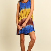 Good Vibes Dress - Blue and Mustard