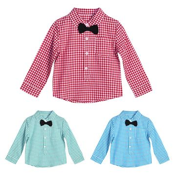 Newborn Toddler Kids Boys Long Sleeve Gentlemen Tops Clothes Bow Tie Baby Cotton Clothing Plaid Shirt Baby Boy Clothes