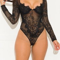 Still On My Mind Lace Bodysuit Black