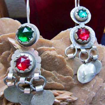 Berber Silver Earrings with Red & Green Glass, South Marocco, Tiznit