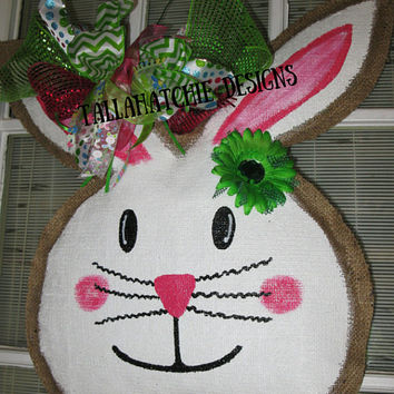 Burlap Easter Bunny Door Hanger *Burlap Bunny Door Hanger  Easter Door Decoration