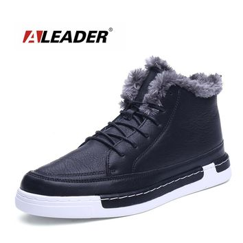 ALEADER Mens Fashion Leather Shoes Men Classic Black Shoes With Fur