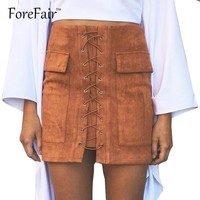 Forefair High-Quality Suede Skirt Women 80s 90s Classic Vintage Criss Cross Lace-up Mini Skirt High Waist Bodycon Pencil Skirt