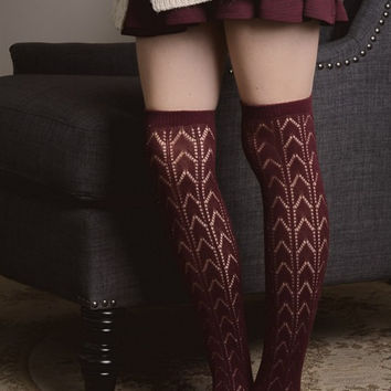 Herringbone Boot Socks - Burgundy
