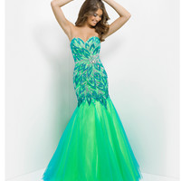 (PRE-ORDER) Blush 2014 Prom Dresses - Turquoise & Lime Strapless Embroidered Long Prom Gown