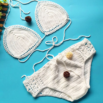 Handmade knitted Bikinis Swimsuit Gift 112