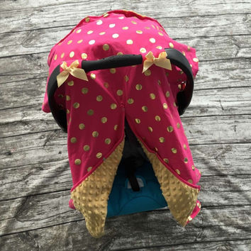 Pink and Gold Dot Car Seat Canopy