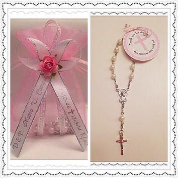 24 Personalized Mini White Pearl Rosary Favors with Pink Organza Gift Bag Baptism/Communion Recuerdos de Bautizo