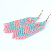 Blue and Pink Earrings. Fringe Chevron Earrings. Dangle Long Earrings. Beadwork