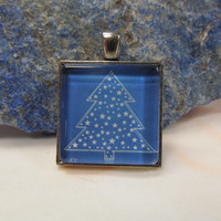 "Christmas- Blue & White Tree - Glass Pendant - 1"" Sq"