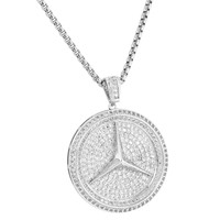"""Luxury Car Logo Pendant Iced Out Simulated Diamonds Silver Tone 24"""" 2mm Chain"""