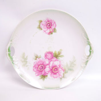 Vintage German Platter Pink Floral Double Cutout Handles Relief Hand Painted Green and Pink Porcelain Plate Germany 285 Signed