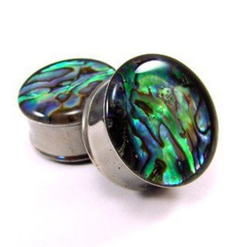 Abalone Shell Embedded Plugs gauges  00g by mysticmetalsorganics