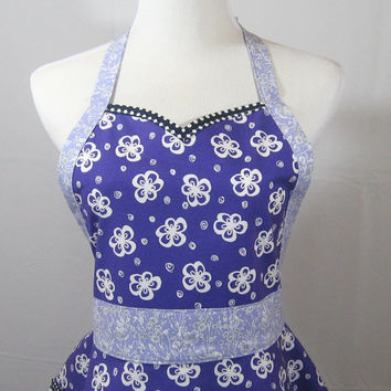 Purple Flower Sweetheart Apron, Navy Polka Dots with Floral Ties, Retro Pocket, Feminine, Handmade, Cotton Fabric, One Size