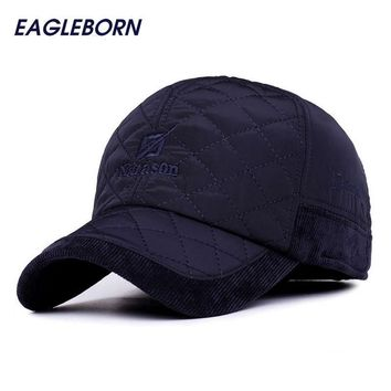Trendy Winter Jacket 2018 EAGLEBORN Men Winter Baseball Caps fashion Knitted Plaid cotton thicken winter cap hats Earflaps Adjustable Casquette AT_92_12