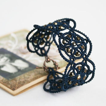 Denim blue lace bracelet, denim blue bracelet, tatted bracelet, tatting jewelry, lace jewelry.