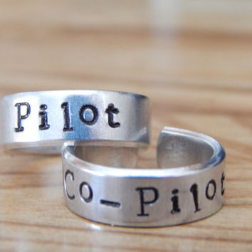 Pilot Co-Pilot Ring Set - Best Friends - Couples Ring Set