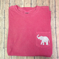 Mongorammed SHORT SLEEVE Comfort Colors Glitter Elephant pocket T Shirt