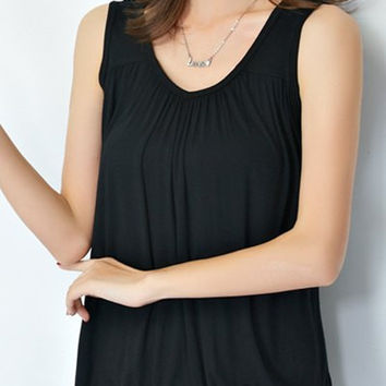 Solid Color V-Neck Plus Size Tank Top