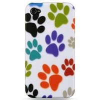 Dog Paws Design Rubberized Feel Snap-On Protector Hard Cover Case Compatible for Apple Iphone 4 / 4S (AT&T, VERIZON, SPRINT)