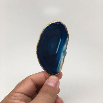 113.5 cts Blue Agate Druzy Slice Geode Pendant Gold Plated From Brazil, Bp1028