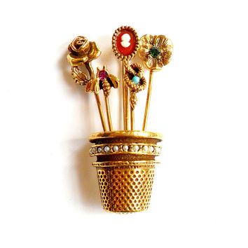 Vintage Thimble Stick Pin Brooch Goldette Unsigned Edwardian Revival Broach Pin Cameo Rose Pansy Snake Bee Seed Pearl Rhinestone