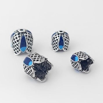10pcs Antique Silver Enamel Inlay Blue Synthetic Resin End Cap Beads For Crimp Tassel Cap Bracelet Fashion Jewelry Findings