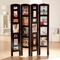 Finley Home Memories Photo Frame Room Divider - 4 Panel, Rosewood, Wood