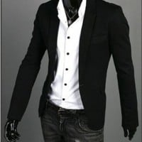 Fashion Mens Slim Fit V-neck One Button Suit Blazer Suit Coats Jackets S M L (L, Black)