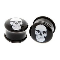 Morbid Metals Black And White Skull Plug 2 Pack - 190518