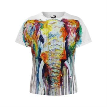 Watercolor Elephant Girl's T-Shirt