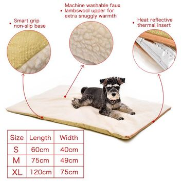 Pet Heating Bed Product For Animal Beige Warm Large Dog Cushion with Zipper Washable Puppy Mat Pet House 3 Sizes Faux lambswool