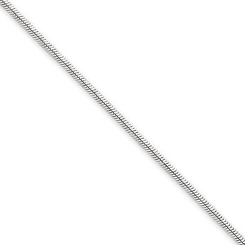 1.6mm, 14k White Gold, Round Solid Snake Chain Bracelet, 8 Inch