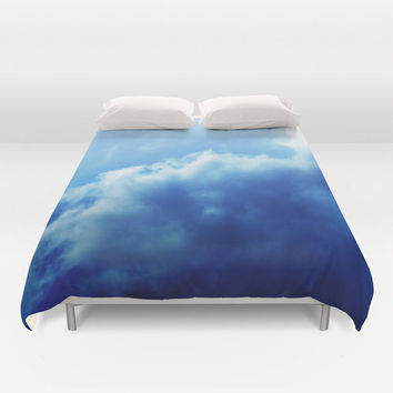 Indigo Sky 3 - Duvet Cover, Deep Blue Cloudscape, Bedding Accent, Boho Chic Bedroom Bed Blanket Throw Cover in Twin, Full, Queen & King Size