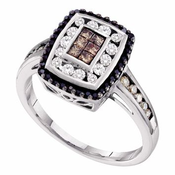 14kt White Gold Womens Princess Cognac-brown Black Color Enhanced Diamond Rectangle Cluster Ring 1/2 Cttw