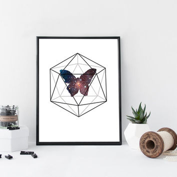 Butterfly abstract illustration, print, modern art print, galaxy, geometric art, home wall decor, apartment decor, illustration