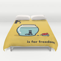 F is for freedom - the irony Duvet Cover by Budi Satria Kwan